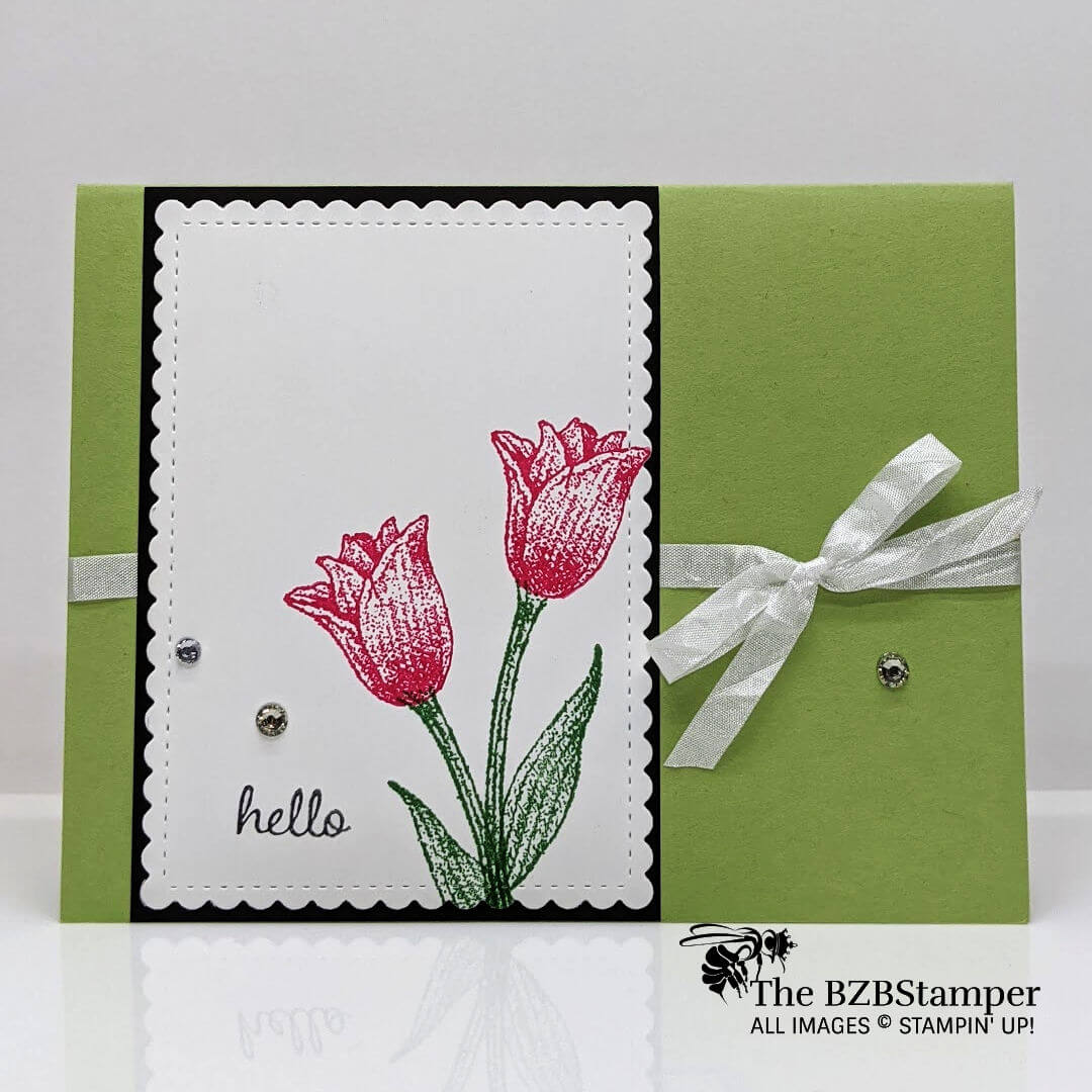 simple handmade Tulip Card in reds and greens