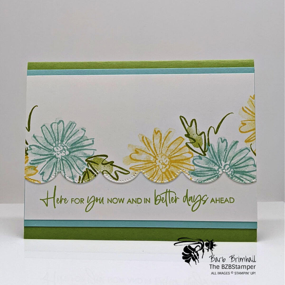 Handmade card with blue and yellow flowers