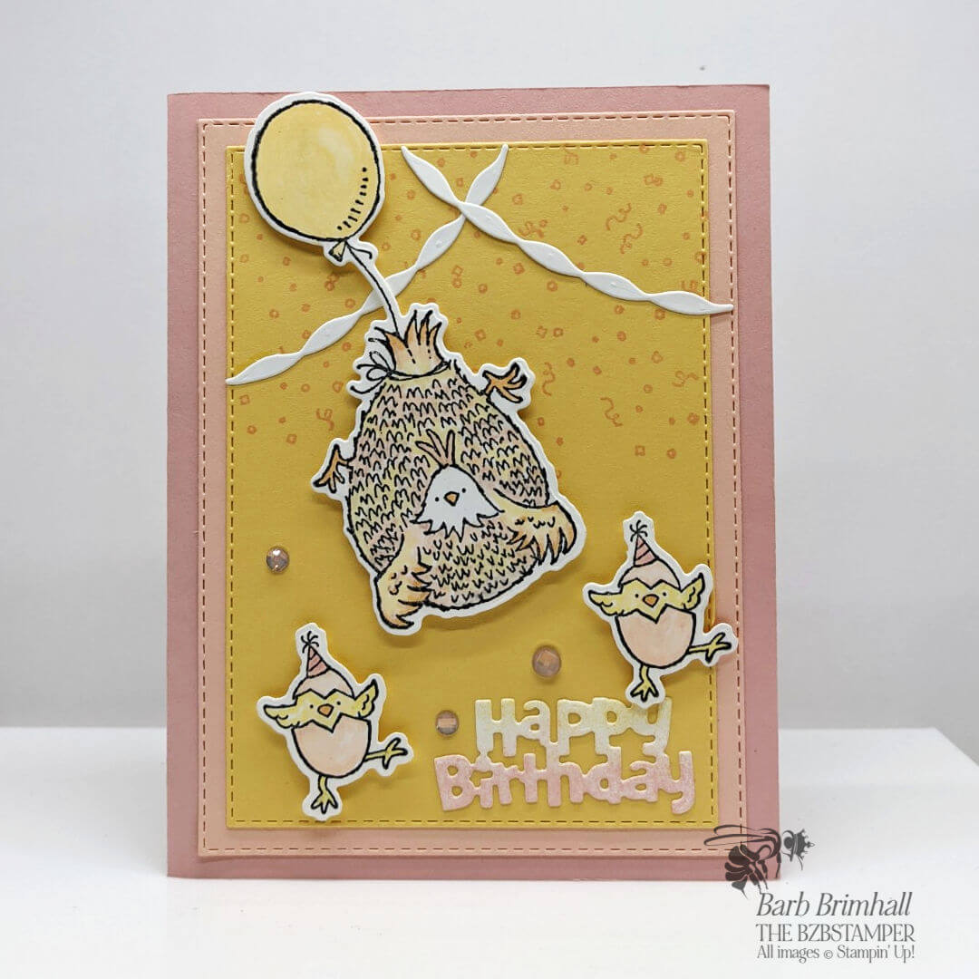 pink and yellow birthday card with chickens